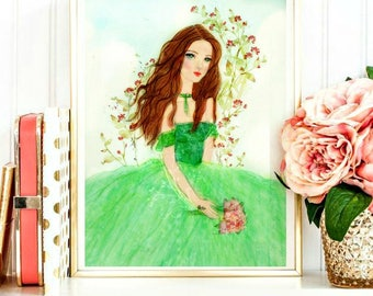 Watercolor Girl wearing Green Dress - Poldark's wife Demelza -