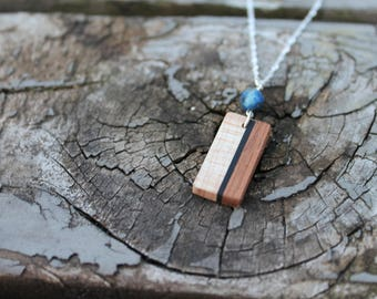 Wood Necklace Minimalist Jewelry Handmade Lapis Necklace Stone Wooden Jewelry Gift for Her Natural Wood Necklace Jewelry Unique Handmade