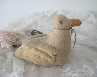 Old Primitive Stuffed Mohair Easter Duck Toy Nordic Style, Shabby Decor, Nursery Decor