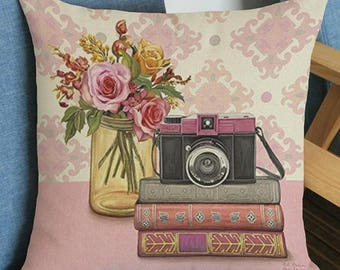 Vintage Style Camera Pillow Cover
