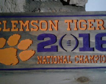 Clemson Tigers! Rustic Wood Sign Wall Hanging Decor.