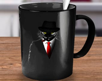 CatLoverStore - Gangster Mafia Cat With A Cigar !, Unique Gift, Cat mug, Cat lover gift, 11 & 15 Ounce Cat Mug