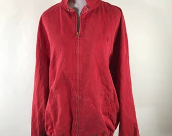 Vintage 80s Polo Ralph Lauren Zip Up Red Jacket made in USA XL Boxy Fit