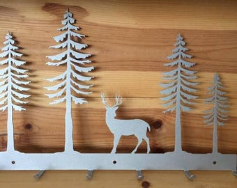Silver Forest Deer Hat Rack