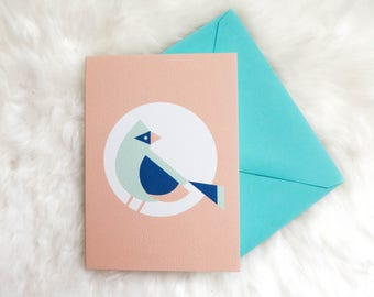 Mint Cardinal Greeting Card (sympathy, thinking of you, minimal geometric bird, mother's day card, bird stationery)