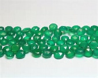 10 pieces natural green onyx heart shape faceted natural gemstone calibrated size