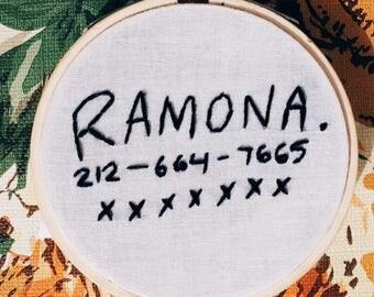 "Ramona Flowers 3"" Embroidery Hoop Wall Art - Embroidery Hoop Art - Scott Pilgrim vs The World - Wall Art"
