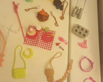 approx. 38 pieces of barbie accessories jewelry purses make up guitars campfire roasted marshmallows cups,water botttles food cupcakes chair