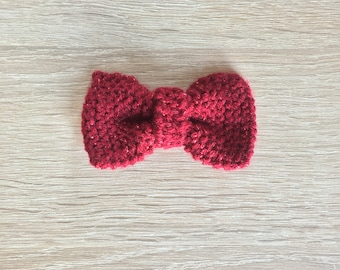 Sparkling Dark Red Crochet Pet Bow tie for cats and small dogs, bow tie for Christmas, pet gift, accessoire chat, noeud papillon rouge