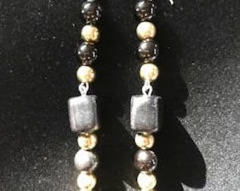 Unique Black and Gold Dangle Drop Earrings