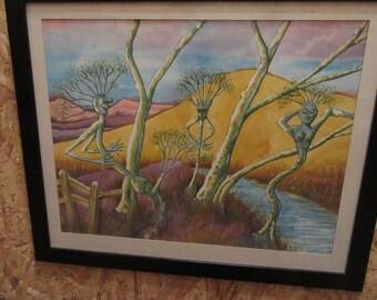 3 Trees in Woods - Watercolour by John Tanton