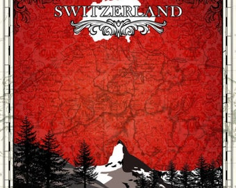 """Switzerland Custom Selected 12"""" x 12"""" Scrapbook Paper Set Swiss Themed Travel Vacation Papers - Our Favorites"""