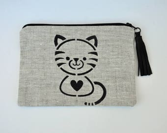 Pouch / clutch with leather tassel linen cat