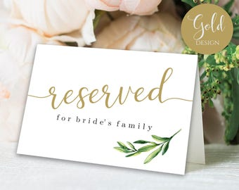 Reserved Sign Signs For Wedding Table Eucalyptus Seating