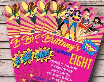 Superhero Girls Invite - Super Hero Girls Invitation - Girls Superhero Invitation - ANY AGE