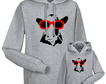 Partnerlook Hoody father child 'Cow'