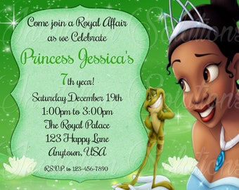 Princess and The Frog Birthday Party Invitation/ Princess Tiana Party Invitation/ Princess Party Invite