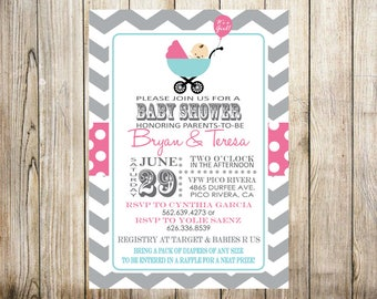 Chevron Baby Shower Digital Invitation