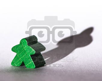 Photo Art Print: Meeple with a Shadow - Color/Green