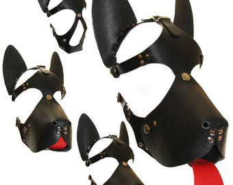 Terginum bdsm puppy leather harness dog fetish hood petplay
