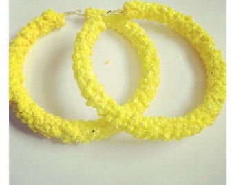 Glitter yellow crystal hoop earrings