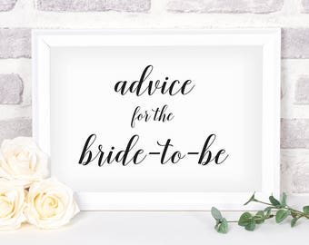 Printable Advice for the Bride Sign. Bridal Shower Sign. Wedding Sign. Bride Advice Sign #4