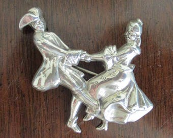 Vintage Costume Jewelry Sterling Silver Lang Colonial Dancing Couple Brooch  FREE SHIPPING