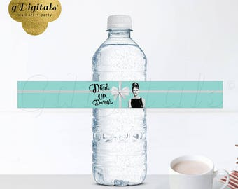 "Water Bottle Labels Breakfast at Tiffany's Audrey Hepburn sticker decor gift favors, 9.75x1.25""/5 Per Sheet {Designed For Avery® 22845}"
