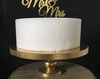 """14"""" inch GOLD 24k CAKE Stand Wedding Birthday Party Cake Stand 1st Birthday Pedestal Custom Cake Stands Sturdy Shiny Tier Real Wood Stand"""