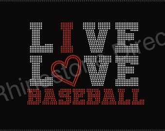 I Love Baseball Rhinestone Iron on Transfer