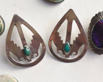 Vintage Navajo southwestern turquoise sterling silver earrings
