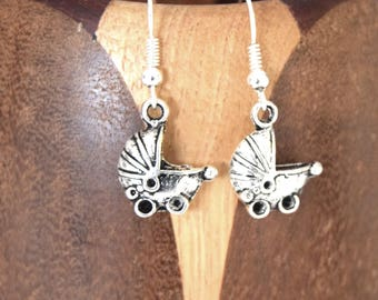 Earrings antique silver Thumbelina, clip little tiny antique silver vintage