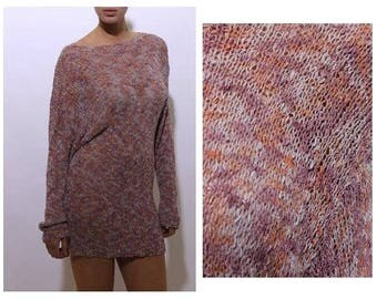 vintage 1990's 90's open knit pink tunic sweater long sleeves nubby texture mauve purple pastel woven pullover OS