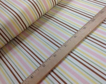 COTTAGE CHARM Cotton fabric by Jacquelynne Steves for Henry Glass Green/Brown/Pink Stripe Pattern #9630 Color #22 sold by the 1/2 yard Quilt
