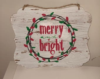 Merry & Bright Wood Sign, Holiday Sign, Christmas Sign, White Painted Wood