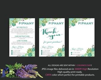 Piphany Thank You card, Piphany Care Instruction Card, Piphany notepad, Custom P!phany Marketing Kit, Personalized Marketing Kit, TP05