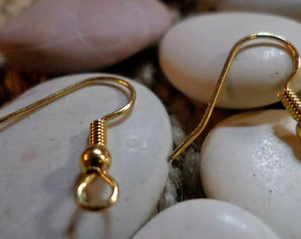 Set of 2 pairs of dangle earrings surgical steel gold plated 20 mm