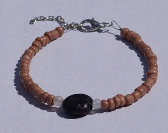 Beige beaded lava rock bracelet