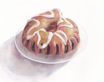 Original watercolor painting / Bun with poppy seeds on white background/ Coffee cake / Realistic food art / Horseshoe / Kitchen wall decor