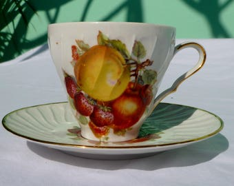 vintage teacup & saucer with fruits and gold trim