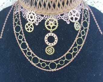 Steampunk Choker with Gears and Chains