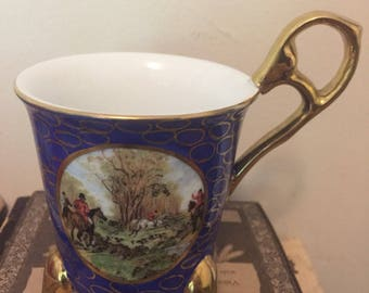 Vintage Ornate Blue KPM Hunting Scene Teacup