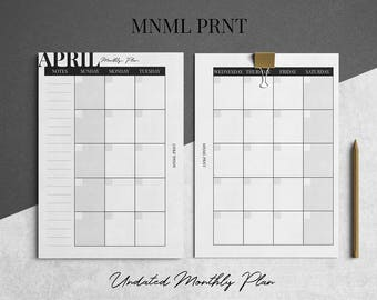 MNML PRNT MO2P Planner Insert | A5 Size | Monthly Planner Inserts | Undated | Printable | Instant Download