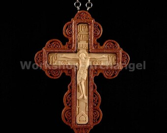 Carved Wooden Crucifix Russian Orthodox Pectoral cross Priest Christian symbols