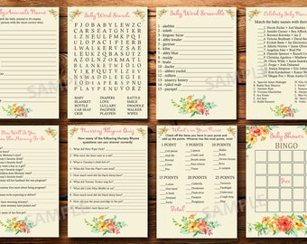 Floral baby shower games, flowers baby shower games,8 floral baby shower games package,  flowers baby shower games package, instant download