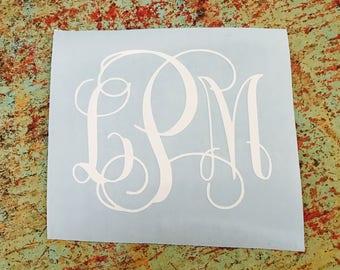 Vine Monogram Decal (Choose your colors)
