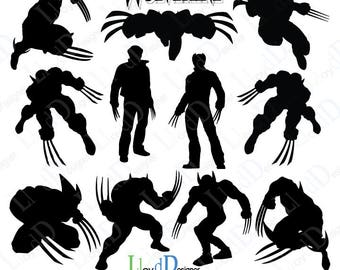 Wolverine svg wolverine silhouette wolverine marvel wolverine xmen wolverine print wolverine gift wolverine claws svg eps png pdf dxf files