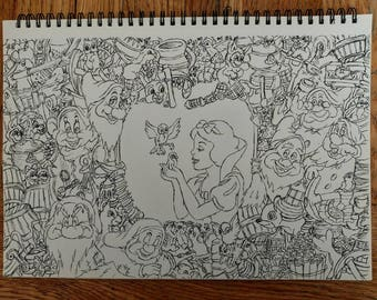 A4 Snow White drawing