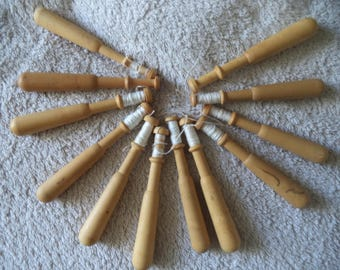 12 bobbins wood turned to lace