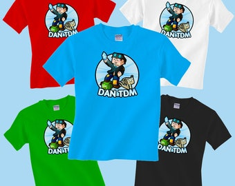 Dan TDM with Dogs Childrens T-Shirt Gamer Youtube Boys Girls Tee Minecraft Advertures DANTDM Tshirt Top Kids